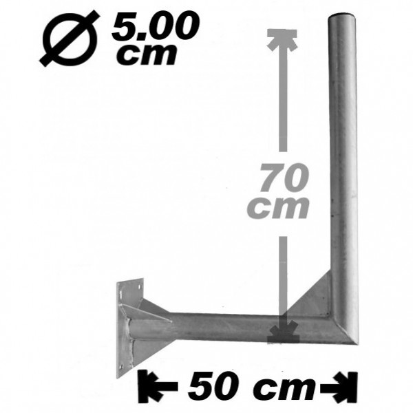 Wand-/Antennenhalter, 50cm, 50mm, 70cm hoch, Stahl
