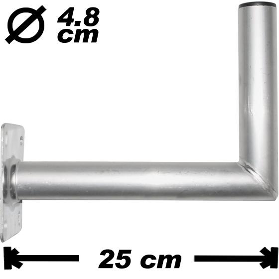 wand antennenhalter 25cm 48mm alu antennenmontage montage einstellen seh1. Black Bedroom Furniture Sets. Home Design Ideas
