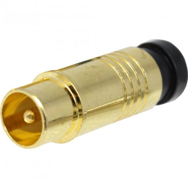 F-, 7.0mm, FSQ1, Kompression, IEC Stecker, Gold
