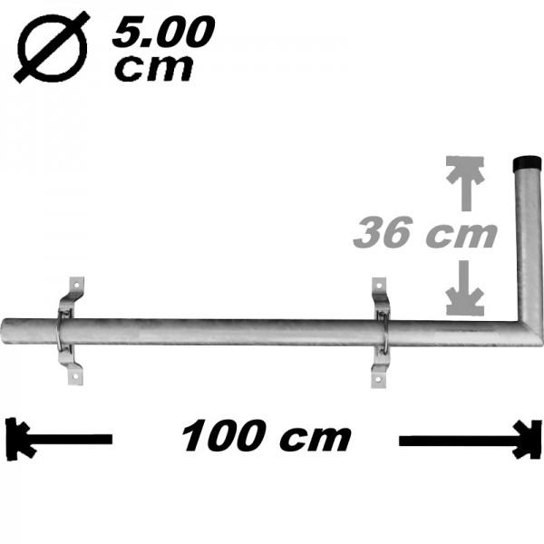Wandeckhalter, 100cm, 50mm, Stahl
