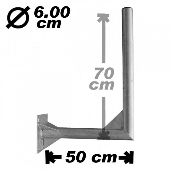 Wand-/Antennenhalter, 50cm, 60mm, 70cm hoch, Stahl
