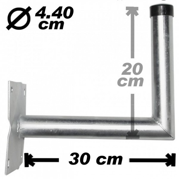 Wand-/Antennenhalter, 30cm, 44mm, Stahl