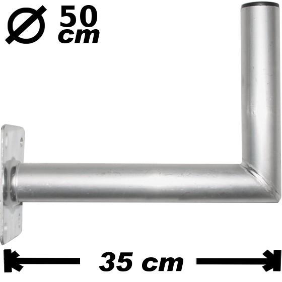 Wand-/Antennenhalter, 35cm, 50mm, Alu