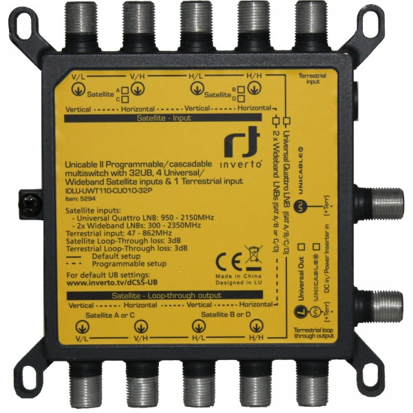 Inverto Unicable2 32-fach Wideband/Quattro Multischalter IDLU-UWT110-CUO1O-32P